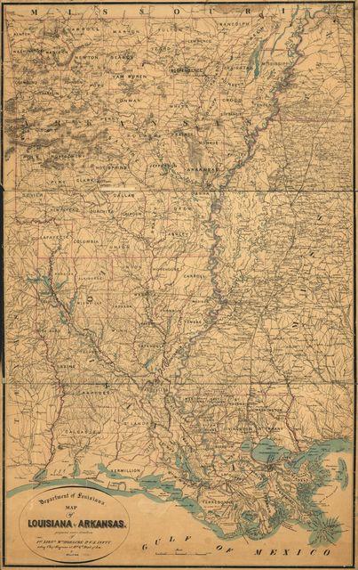 Map of Louisiana & Arkansas.