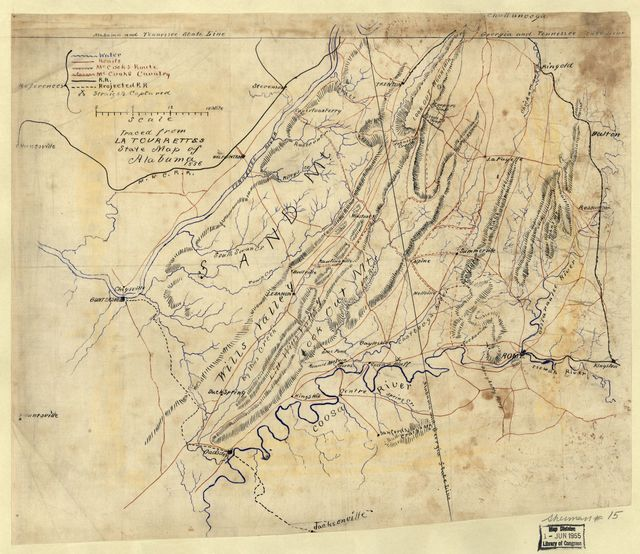 [Map of northeastern Alabama and northwestern Georgia showing movement of Union troops under the command of Gen. Edward M. McCook].