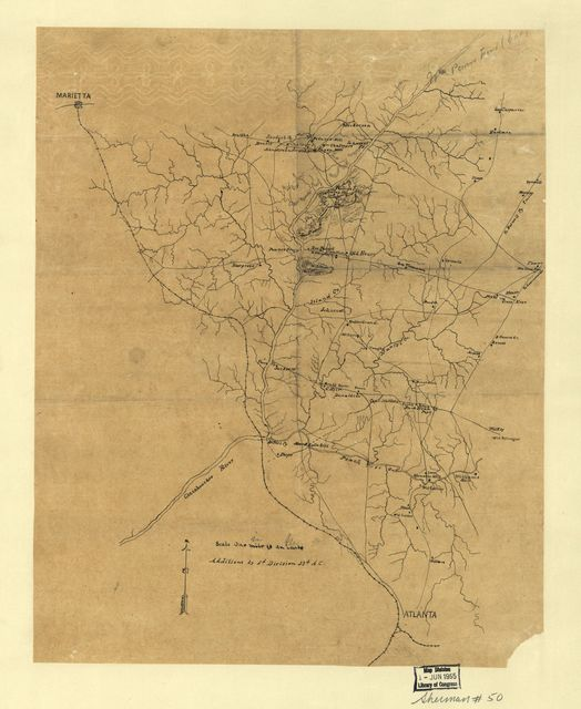 [Map of part of the counties of Fulton and Cobb, Georgia, showing fortifications on the Chattahoochee River at Isoms Ford and Phillips Ferry] /