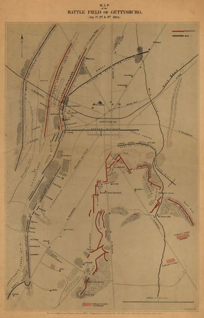 Map of the battle field of Gettysburg. [July 1st, 2nd, and 3rd 1863]