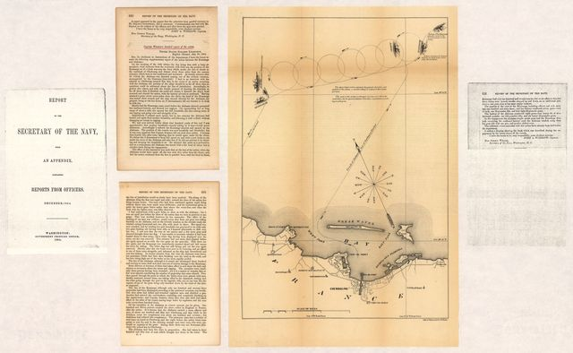[Map of the defeat of the Confederate ship Alabama by the U.S. steamer Kearsarge on June 19, 1864, off Cherbourg, France].