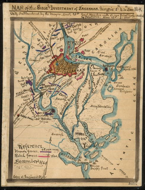 Map of the siege and investment of Savannah, Georgia, 5th to 20th Decr. 1864.