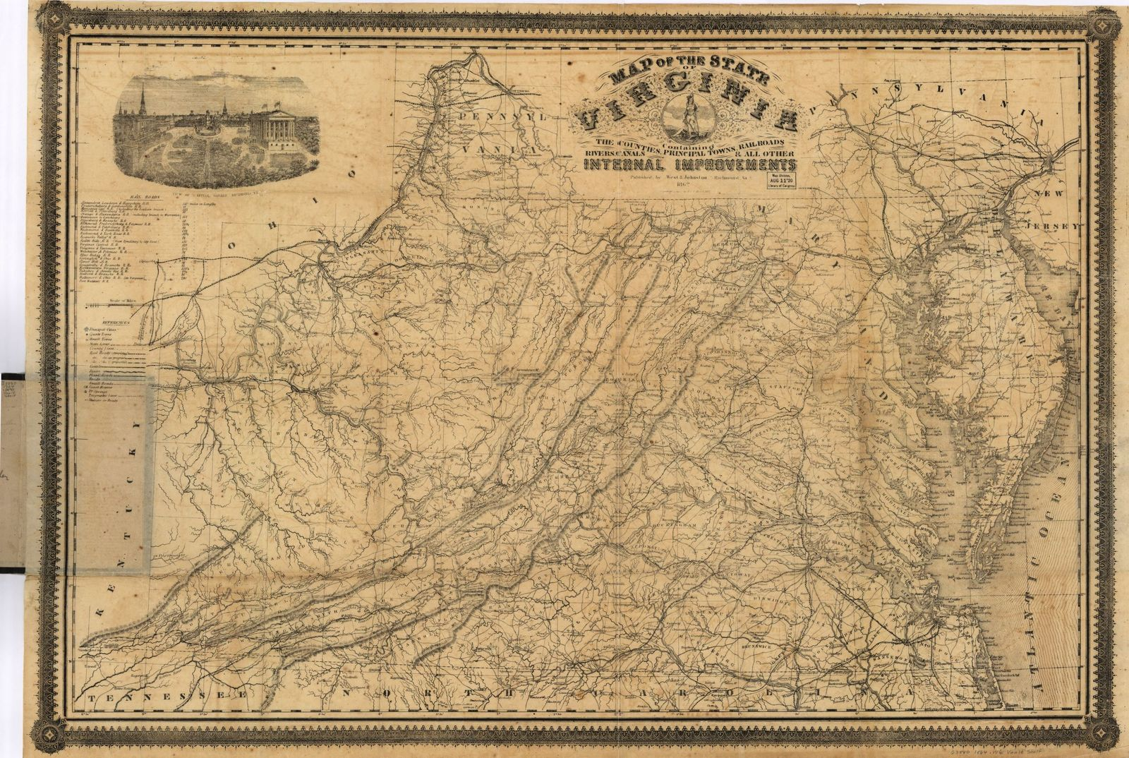 Map of the state of Virginia containing the counties, principal towns, railroads, rivers, canals & all other internal improvements.