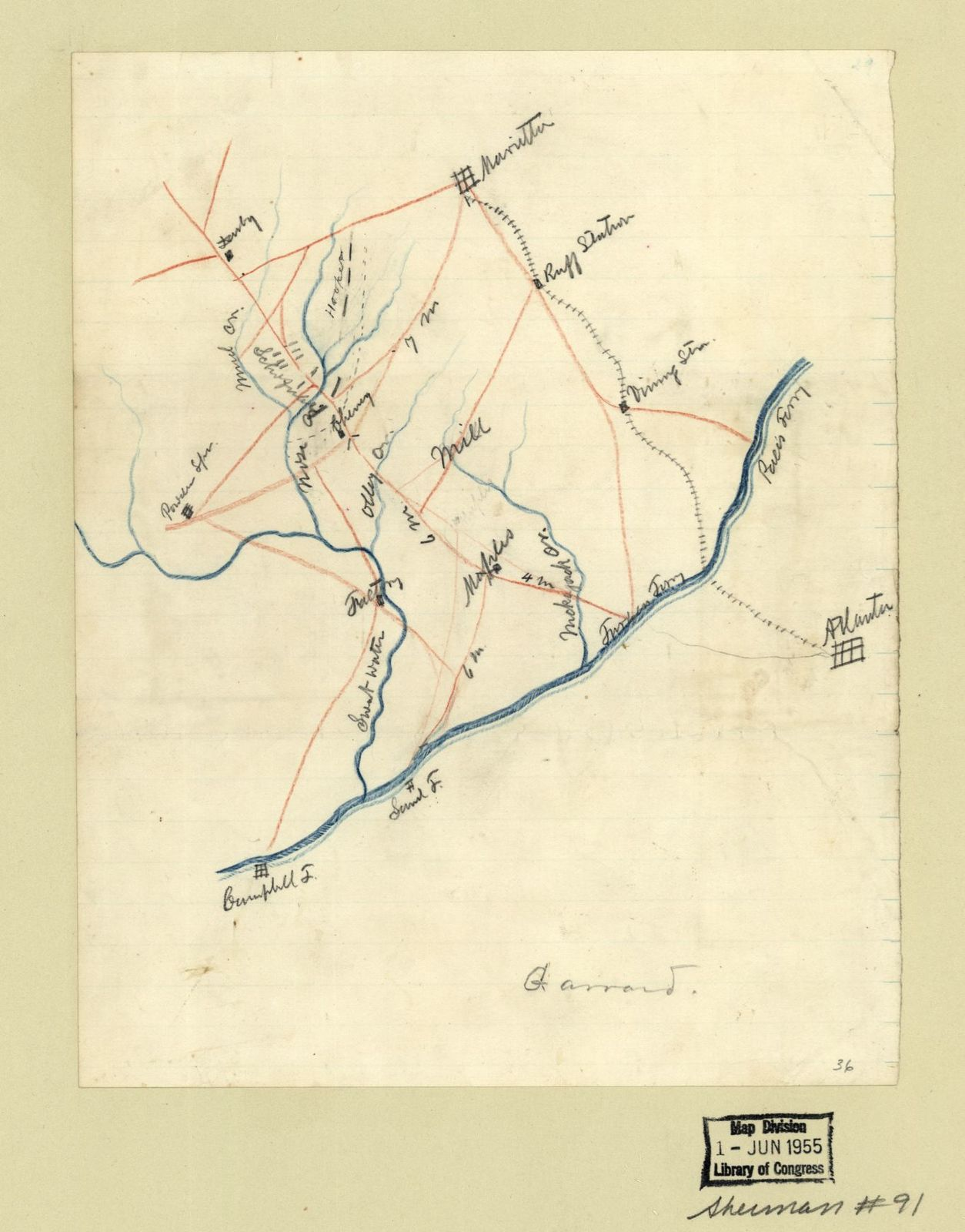 Map Of The Union Troop Positions Southwest Of Marietta Georgia
