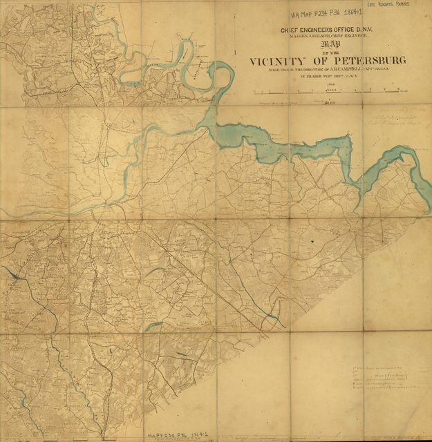 Map of the vicinity of Petersburg : made under the direction of A.H. Campbell, Captain, P.E., C.S.A., in charge Topl. dept., D.N.V.