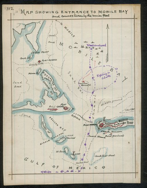 Map showing entrance to Mobile Bay and course taken by Union fleet.