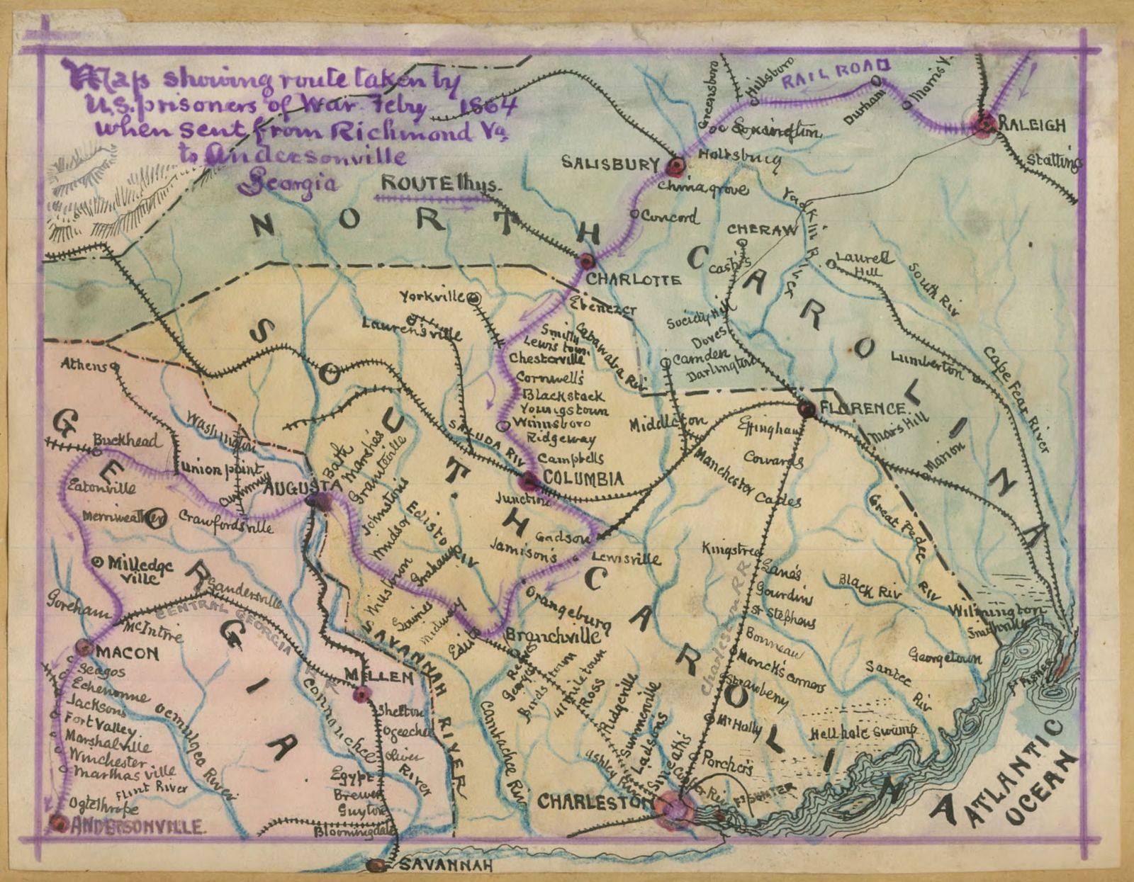 Map Showing Route Taken By Us Prisoners Of War Feby 1864 When - Us-map-1864