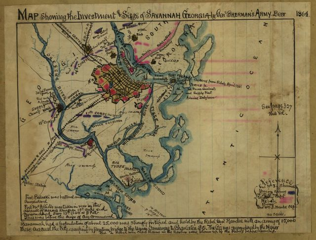 Map showing the investment and siege of Savannah, Georgia by Genl Sherman's army Decr 1864.