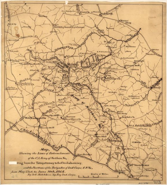 Map showing the lines of entrenchments of the C.S. Army of Northern Va., [exten]ding from the Totopotomoy to the Chickahominy, and the positions of the brigades of the 2nd Corps, A.N. Va., from May 23rd to June 10, 1864 /