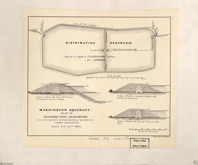 [Maps of the Washington Aqueduct, Md. and Washington D.C.] : to accompany supplemental report of Chief Engineer dated Feb. 22nd 1864.