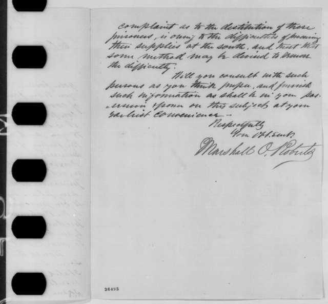 Marshall O. Roberts to Thomas P. Akers, Tuesday, September 20, 1864  (Union prisoners of war)