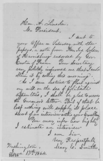 Mary E. Smith to Abraham Lincoln, Monday, June 13, 1864  (Requests return of letter)