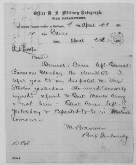 Mason Brayman to Abraham Lincoln, Friday, April 22, 1864  (Telegram concerning General John M. Corse)
