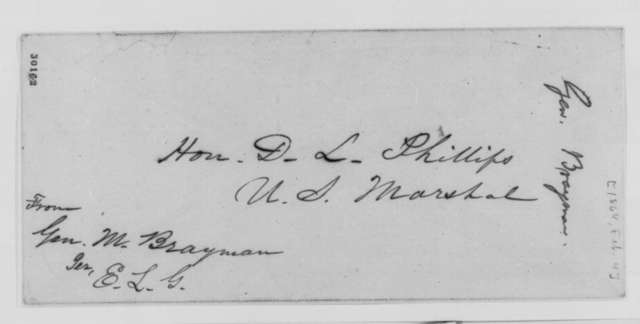Mason Brayman to David L. Phillips, Thursday, February 04, 1864  (Seeks administrative appointment)