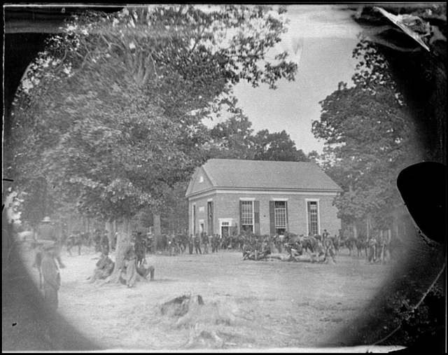 [Massaponax Church, Va. View of the church, temporary headquarters of Gen. Ulysses S. Grant, surrounded by soldiers]