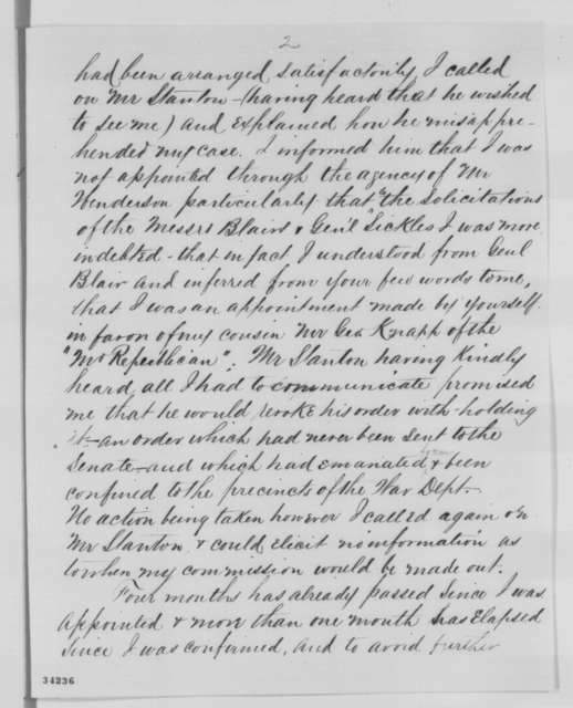 Matthew J. McKeon to Abraham Lincoln, Saturday, July 02, 1864  (Commission as paymaster)