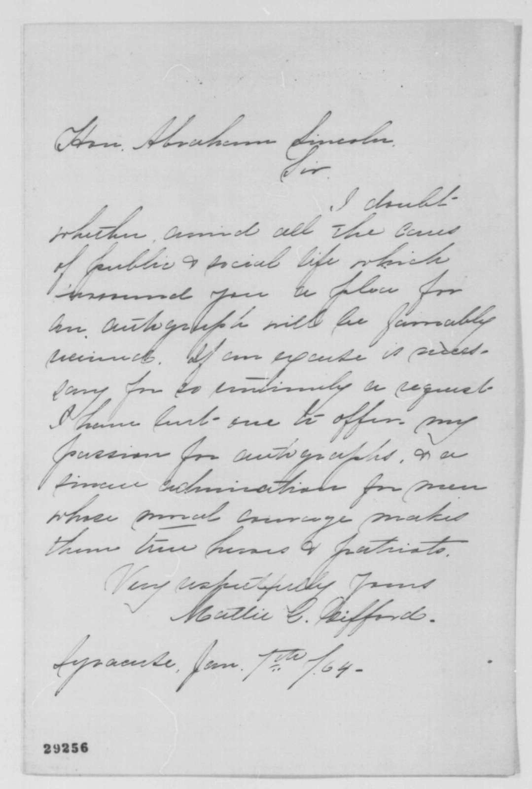 Mattie C. Gifford to Abraham Lincoln, Thursday, January 07, 1864  (Request for autograph)