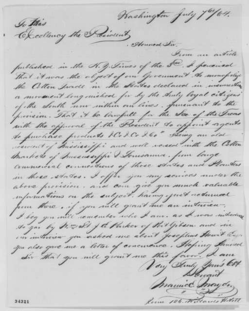 Maurice Mayer to Abraham Lincoln, Thursday, July 07, 1864  (Cotton trade)