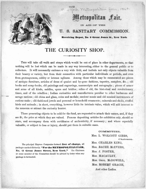 Metropolitan fair, in aid of the U. S. sanitary commission ... The Curiosity shop ... [New York, 1864].