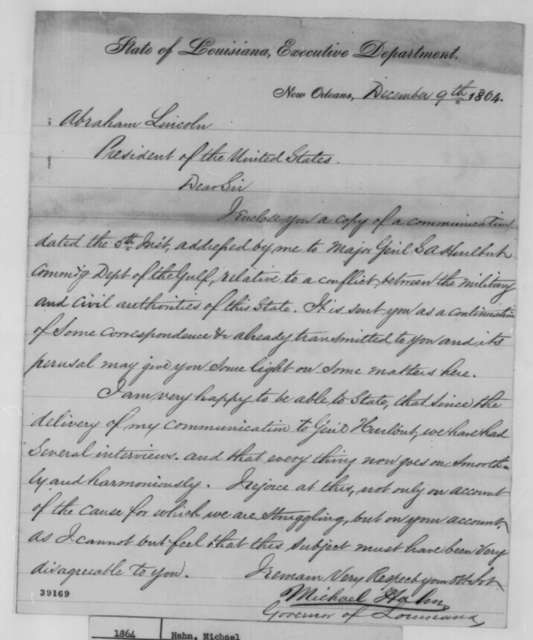 Michael Hahn to Abraham Lincoln, Friday, December 09, 1864  (Cover letter)