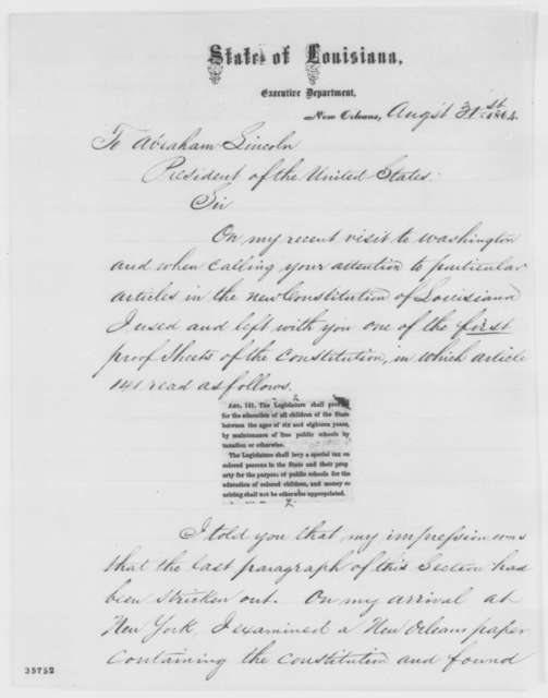 Michael Hahn to Abraham Lincoln, Wednesday, August 31, 1864  (Louisiana constitution)