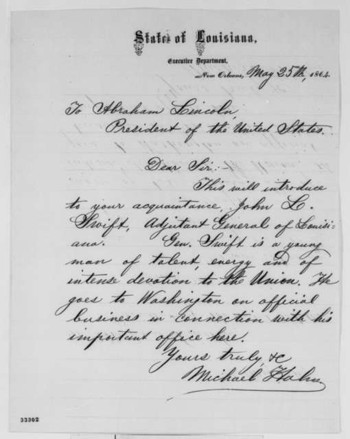 Michael Hahn to Abraham Lincoln, Wednesday, May 25, 1864  (Introduction)