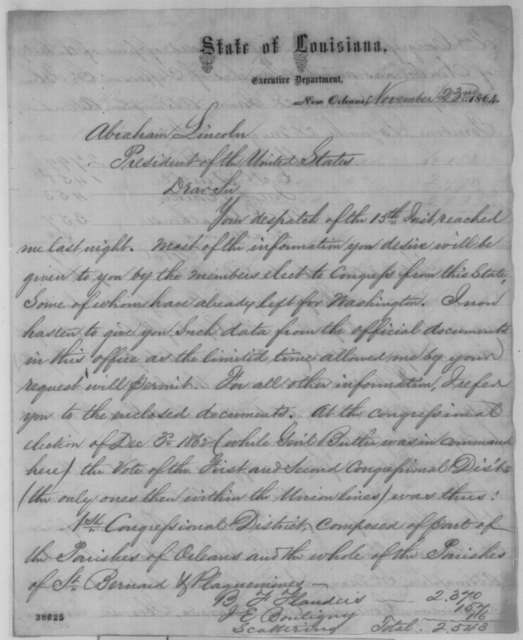 Michael Hahn to Abraham Lincoln, Wednesday, November 23, 1864  (Louisiana election returns)