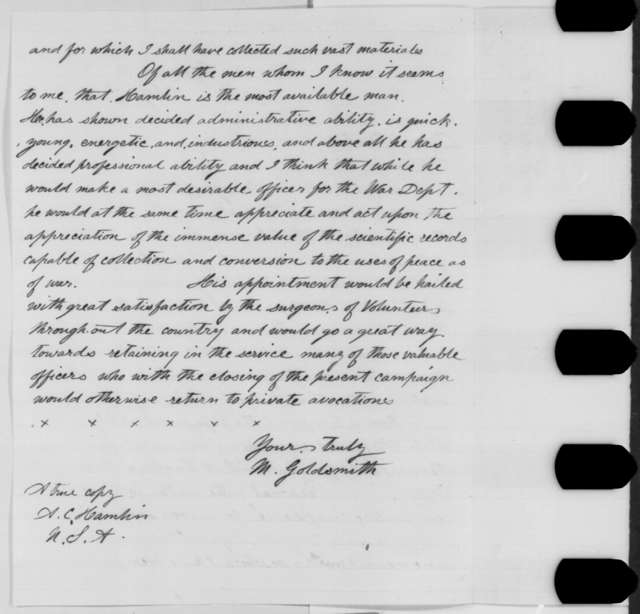 Middleton Goldsmith to Augustus C. Hamlin, Monday, August 01, 1864  (Appointment of surgeon general)