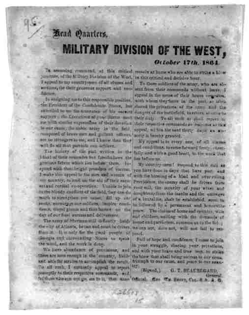 Military division of the West. October 17th, 1864.