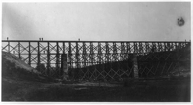 Military railroad bridge over Potomac Creek. Aquia Creek and Fredericksburg Railroad. Built by U.S.M.R.R. Construction Corps in 40 hours