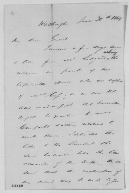 Montgomery Blair to Lewis Cass, Thursday, June 30, 1864  (Release of Confederate prisoners related to Cass)