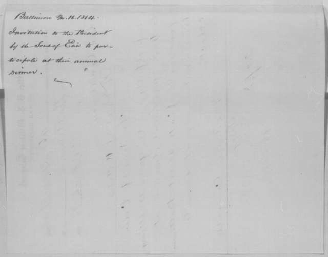 Mortimer Carroll to Abraham Lincoln, Wednesday, March 16, 1864  (Telegram inviting Lincoln to attend a dinner)