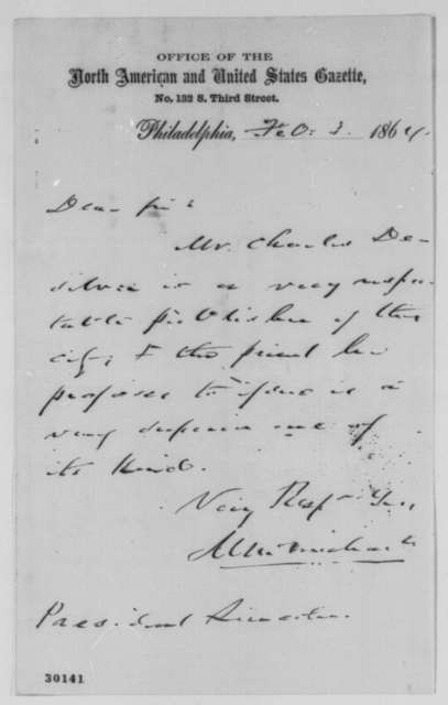 Morton McMichael to Abraham Lincoln, Wednesday, February 03, 1864  (Introduction)