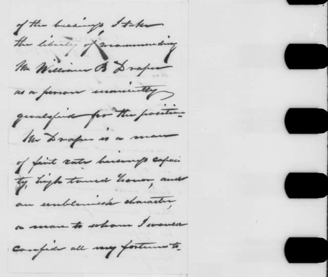 Moses H. Grinnell to Abraham Lincoln, Saturday, September 24, 1864  (Recommendation)