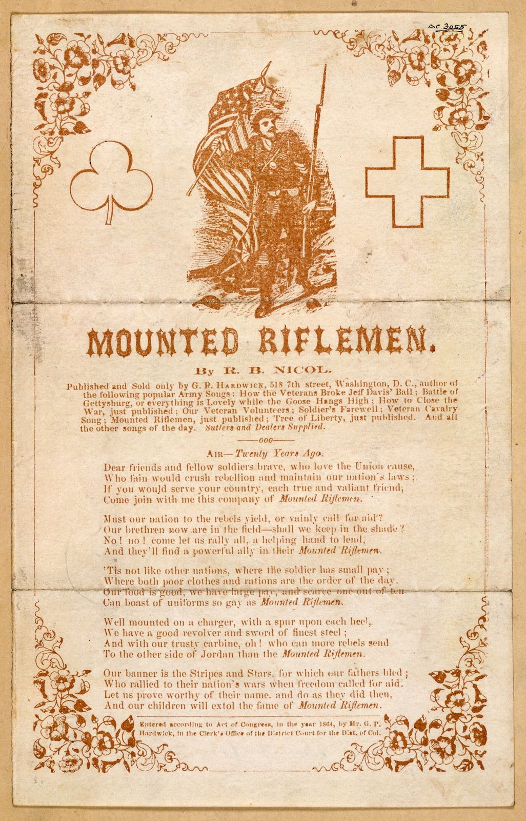 Mounted rifleman. By R. B. Nicol. Published and sold by G. P. Hardwick, ... Washington, D. C. [c. 1864]