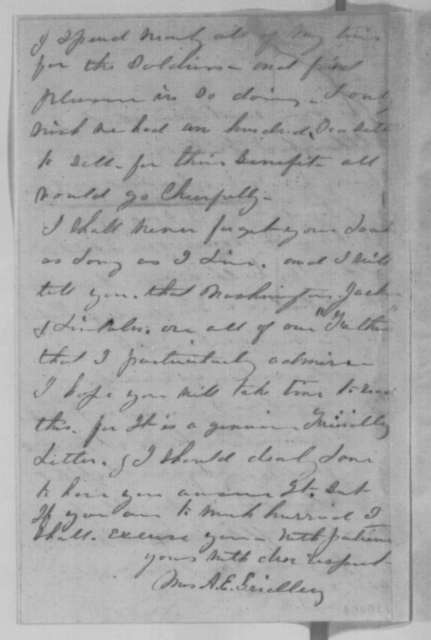 Mrs. A. E. Gridley to Abraham Lincoln, Friday, September 30, 1864  (Support and appreciation for autograph)