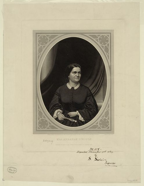 Mrs. Abraham Lincoln / engraved by Samuel Sartain, printed by Irwin & Sartain.