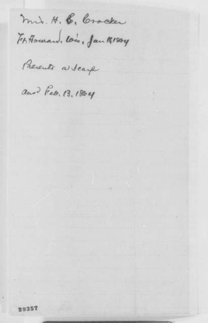 Mrs. H. S. Crocker to Abraham Lincoln, Monday, January 11, 1864  (Sends knitted scarf)