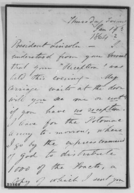 Mrs. Haight to Abraham Lincoln, [1864]  (Distribution of tracts to Army of Potomac)