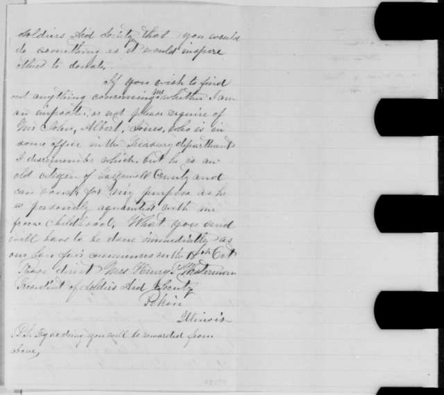 Mrs. Henry P. Westerman to Abraham Lincoln, Sunday, October 02, 1864  (Requests donation to Tazewell County Sanitary Fair)