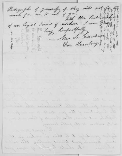 Mrs. L. Gardner to Abraham Lincoln, Wednesday, November 02, 1864  (Requests donation to Rochester Soldiers Aid Society)