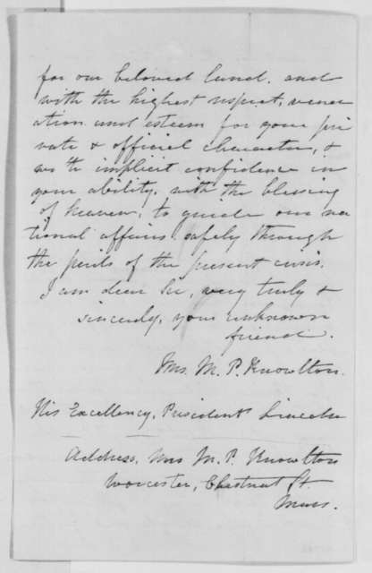 Mrs. M. P. Knowlton to Abraham Lincoln, Monday, October 31, 1864  (Support)