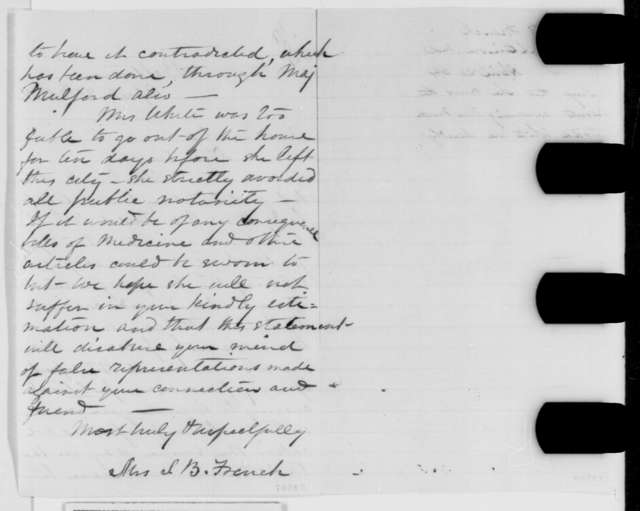 Mrs. S. B. French to Abraham Lincoln, Wednesday, April 20, 1864  (Charges against Martha Todd White)