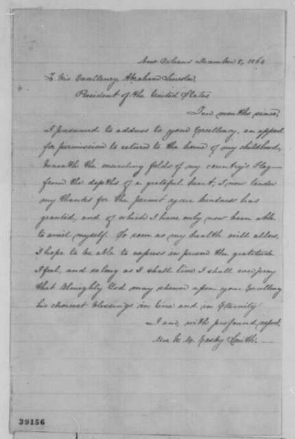 Mrs. W. M. Easby Smith to Abraham Lincoln, Thursday, December 08, 1864  (Appreciates pass)