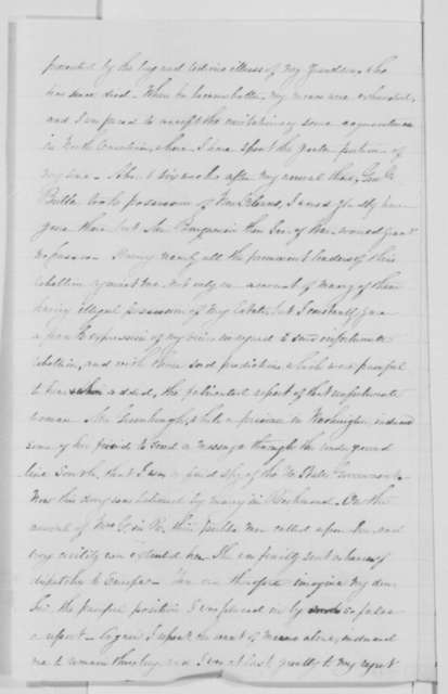 Myra C. Gaines to Reverdy Johnson, Wednesday, January 20, 1864  (Wants permission to return home)