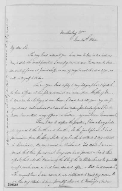 Myra C. Gaines to Reverdy Johnson, Wednesday, January 20, 1864  (Wants permission to return home)