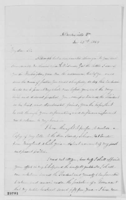 Myra C. Gaines to Ward H. Lamon, Saturday, January 23, 1864  (Seeks permission to return home)