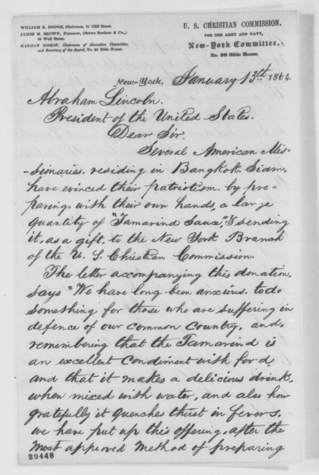 Nathan Bishop to Abraham Lincoln, Wednesday, January 13, 1864  (Sends tamarind sauce from Siam)