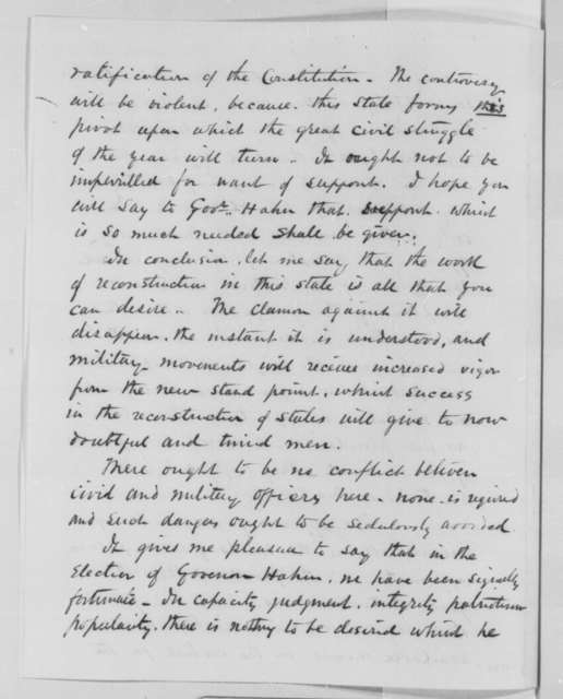Nathaniel P. Banks to Abraham Lincoln, Monday, July 25, 1864  (Political affairs in Louisiana)