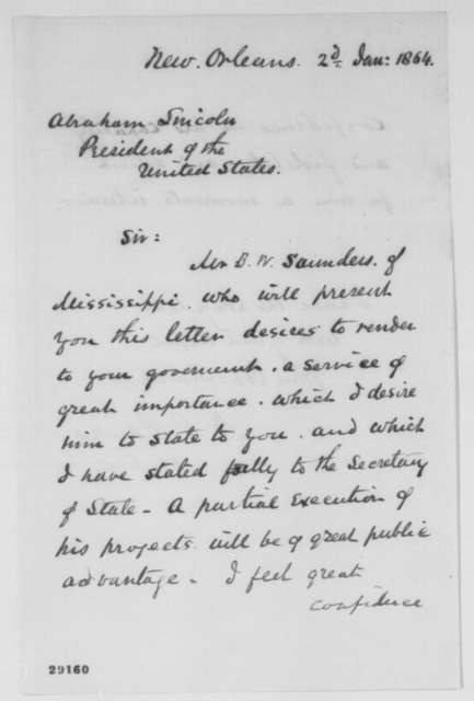 Nathaniel P. Banks to Abraham Lincoln, Saturday, January 02, 1864  (Introduces B. W. Saunders)